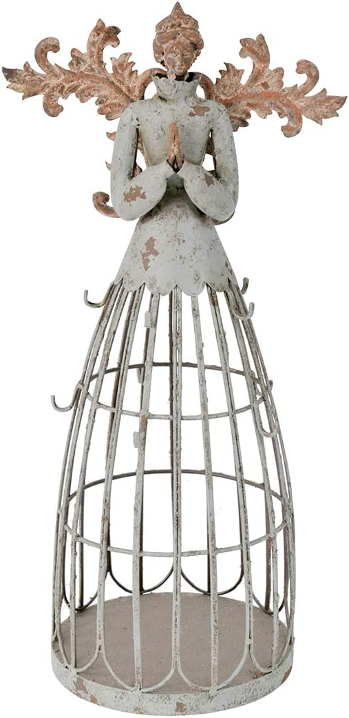 Attraction Design Antiqued Praying Metal Garden Angel Statue with Hooks, Indoor Outdoor Angel Yard Art Decor Lawn Patio Decorations Holiday Decor Garden Gift Idea, 18''H (Praying Angel-A)