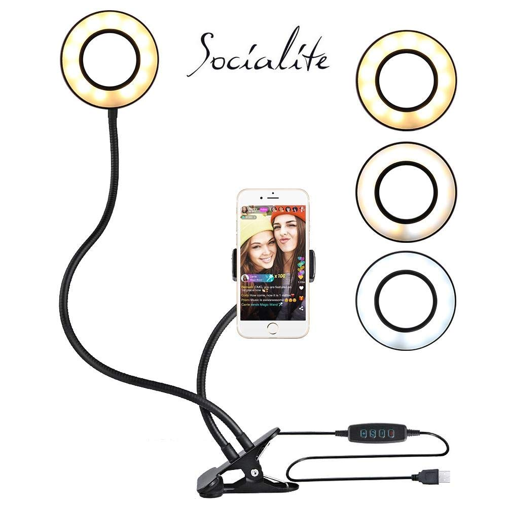 Socialite Flexible Arm Phone Clamp Holder with Selfie Ring Light for Live Stream & Video Broadcast