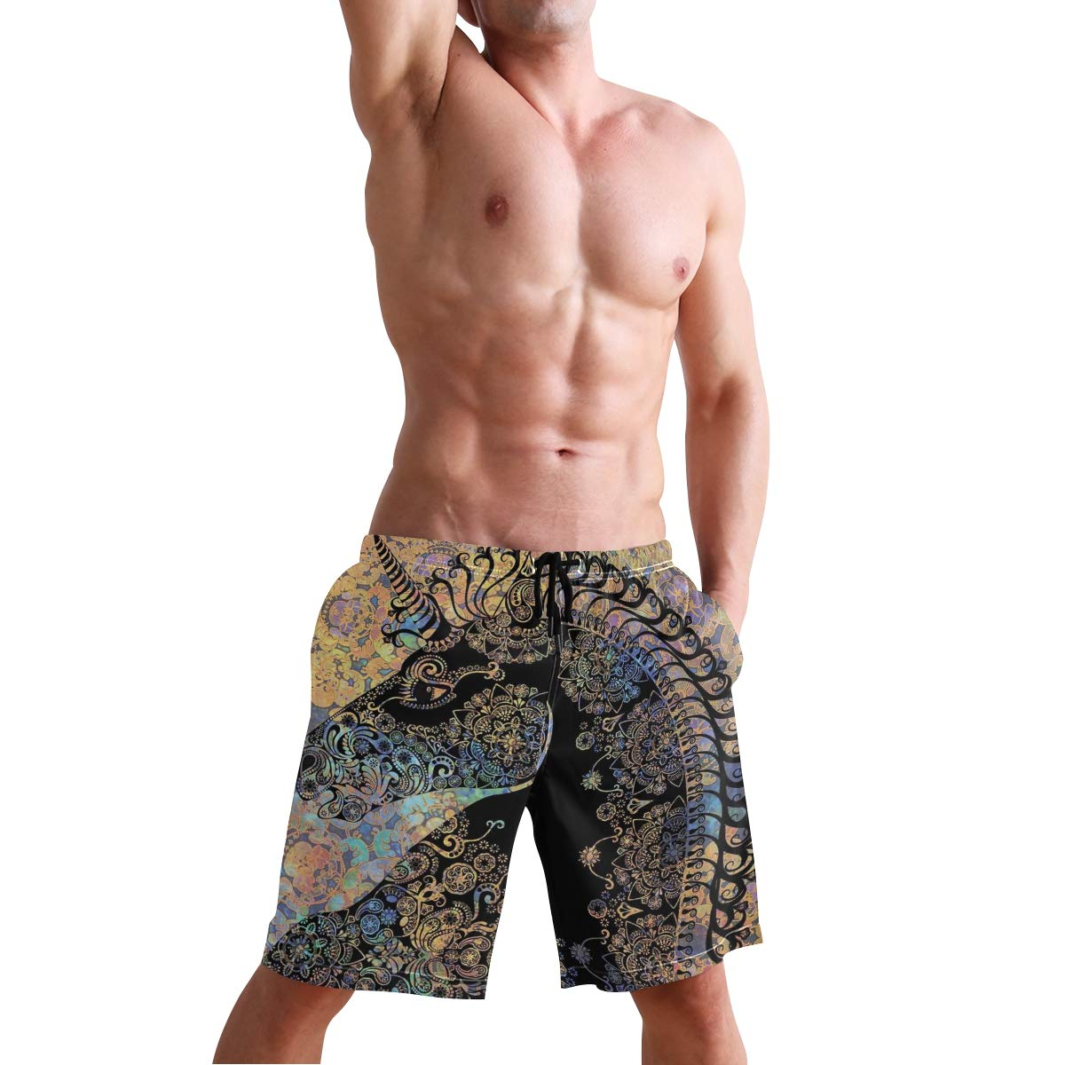 COVASA Mens Summer ShortsFall Forest with Shady Deciduous Trees and Faded Leaf