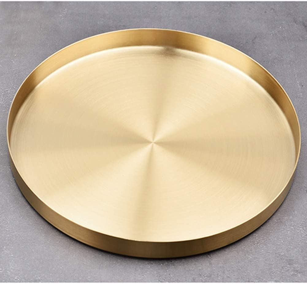 Gold Round Storage Trays, Stainless Steel Metal Presentation Plates, Decorative Storage Organizer Serving Tray for Jewelry/Cosmetic/Kitchen Tableware, Simple Round Storage Dish
