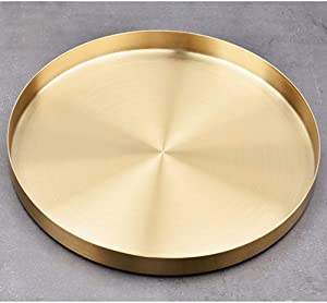 Gold Round Storage Trays, Stainless Steel Metal Presentation Plates, Decorative Storage Organizer Serving Tray for Jewelry/Cosmetic/Kitchen Tableware, Simple Round Storage Dish