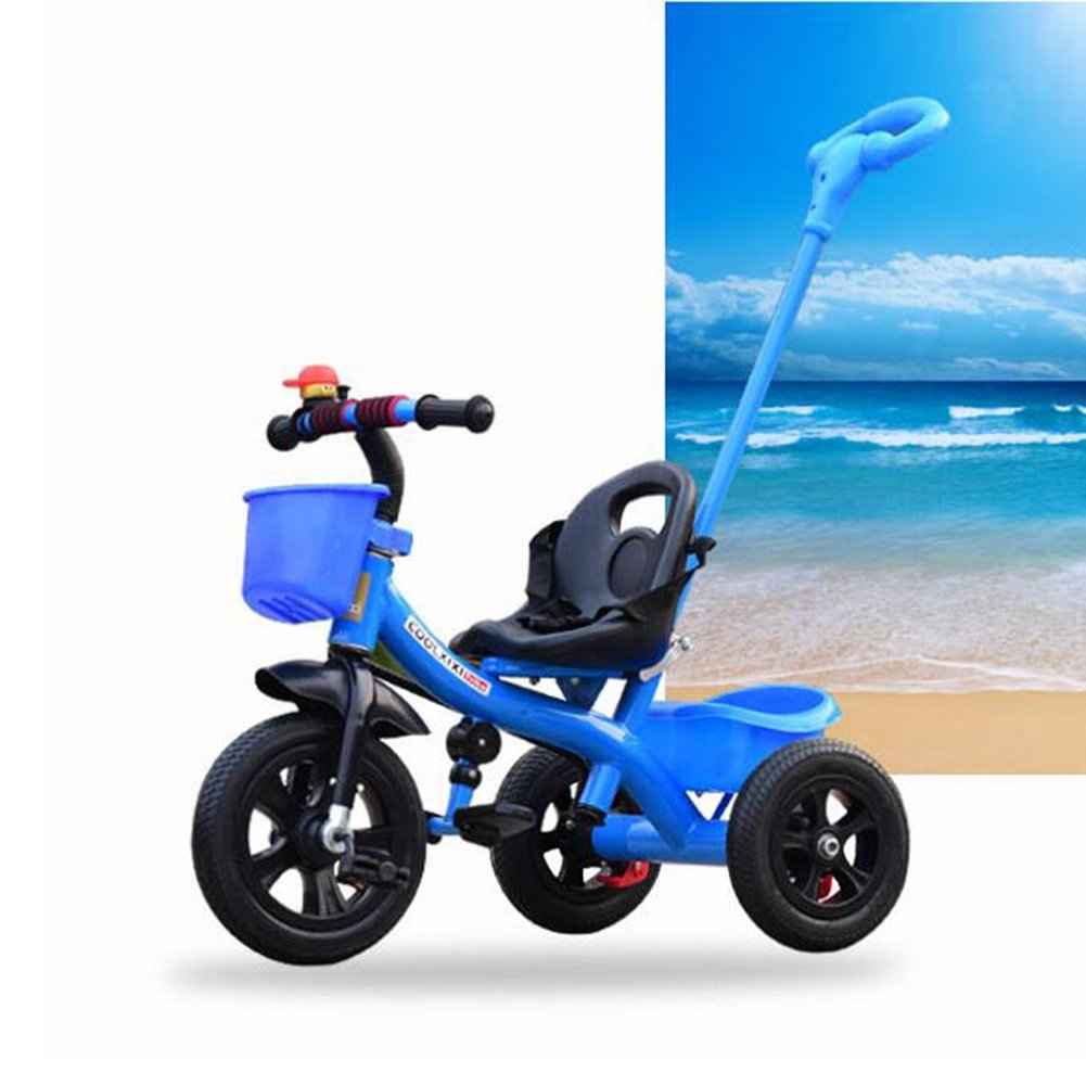 XQ 子供 高弾性 耐震性 空気圧ホイール 三輪車 1-3-5歳 赤ちゃん トロリー 子ども用自転車 ( 色 : 青 ) B07C77GZDD 青 青