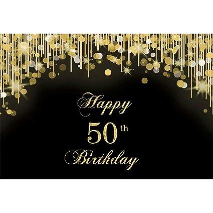 Cassisy 2,2x1,5m Vinilo Telon de Fondo 50 cumpleaños telón de Fondo Lentejuelas Purpurina Fiesta de cumpleaños Fondos para Fotografia Party bebé ...