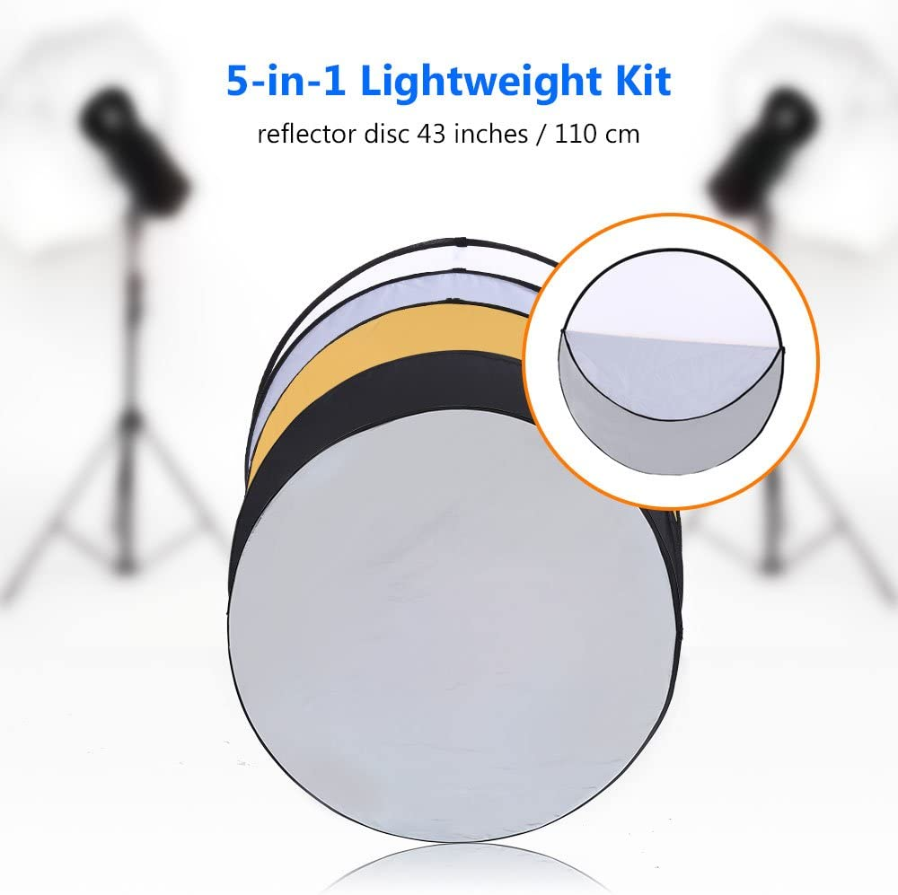 110cm, 5 in 1 43//110cm SAILNOVO Light Reflector 5 in 1 Portable Collapsible Foldable Multi-Disc Light Reflector Panels for Photography Studio and Outdoor