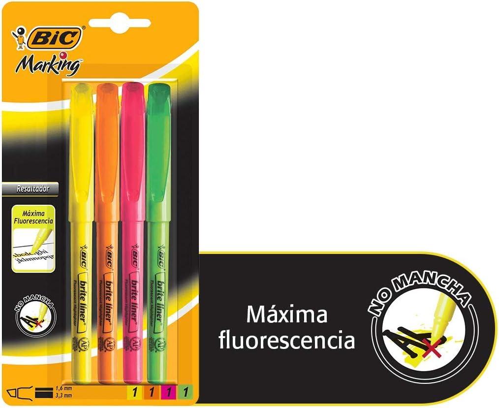 juego de cuatro marcadores resaltadores de texto fluorescente bic amarillo naranja rosa verde