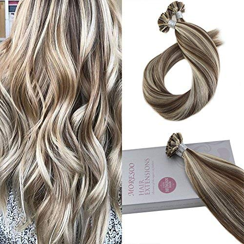 Moresoo 16 Inch Extensions Remy Human Hair U Nail Tip Hair Extensions Human Hair Keratin Hair Color #9A Brown Highlighted with #60 Blonde Pre-bonded Extensions 1g/1s 50G (Keratip Extensions)