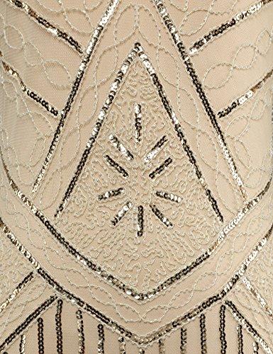 Flapper Women's Dress Sequin 1920s Hem Girl Tassels Flapper Beaded Beige Vintage Oqp88w