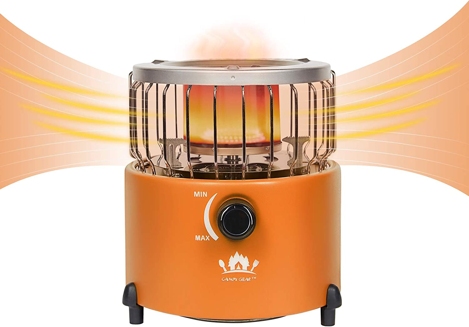 Campy Gear 2 in 1 Portable Propane Heater & Stove, Outdoor Camping Gas Stove Camp Tent Heater for Ice Fishing Backpacking Hiking Hunting Survival Emergency (Orange, CG-2000G)