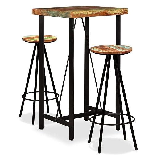vidaXL Set Muebles de Bar 3 Piezas Madera Reciclada Mesa Mesilla ...