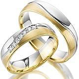 2 x 333 Trauringe Gold Bicolor Weißgold Eheringe Massiv Paarpreis LM.10.375 Weißgold Trauringe Paarpreis vom Juwelier Echtes Gold