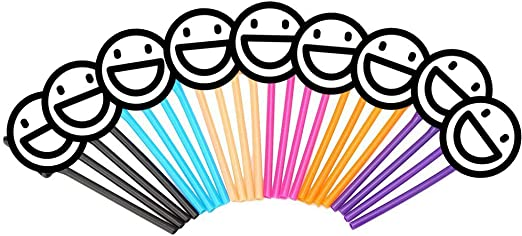DECORA 24 Pcs Plastic Drinking Straws for Bridal Shower Favors 6 Colors