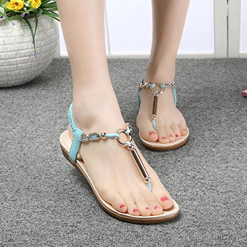 Fashion Toe Sandals Ladies Flat Summer Sweet Beach New Simple Blue Beaded Womens Beaded Clip Leisure Sandals Clode® Shoes Girls dt1qwnIvP