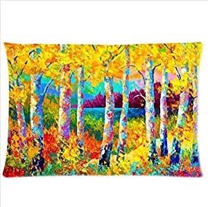 Autumn Jewels Marion Rose-Autumn Birch Tree Pillowcase,One Side Pillowcase Pillow Cover 20x30 inches