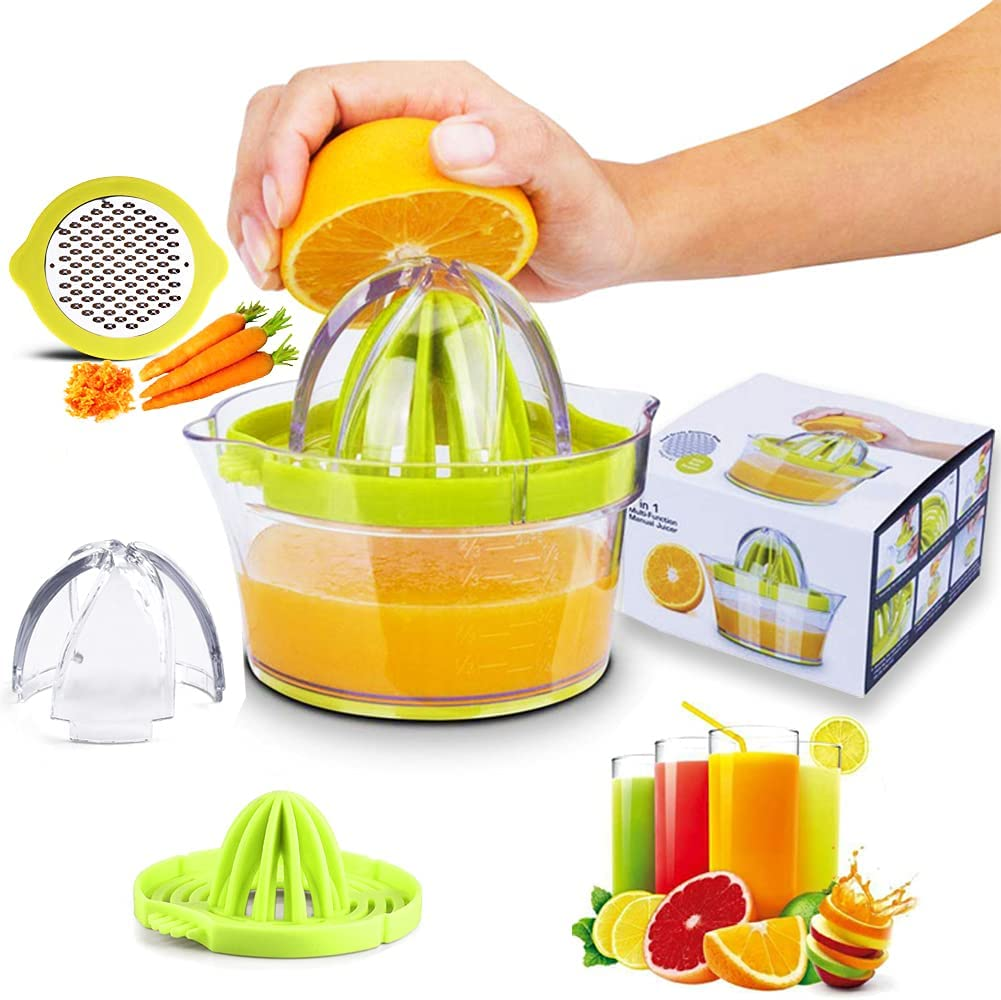 Citrus Manual Juicer, Citrus Lemon Orange Juicer with Built-in Measuring Cup and Grater Extraction Egg Separator,13-Ounce Capacity Citrus Manual Hand Squeezer (Green)