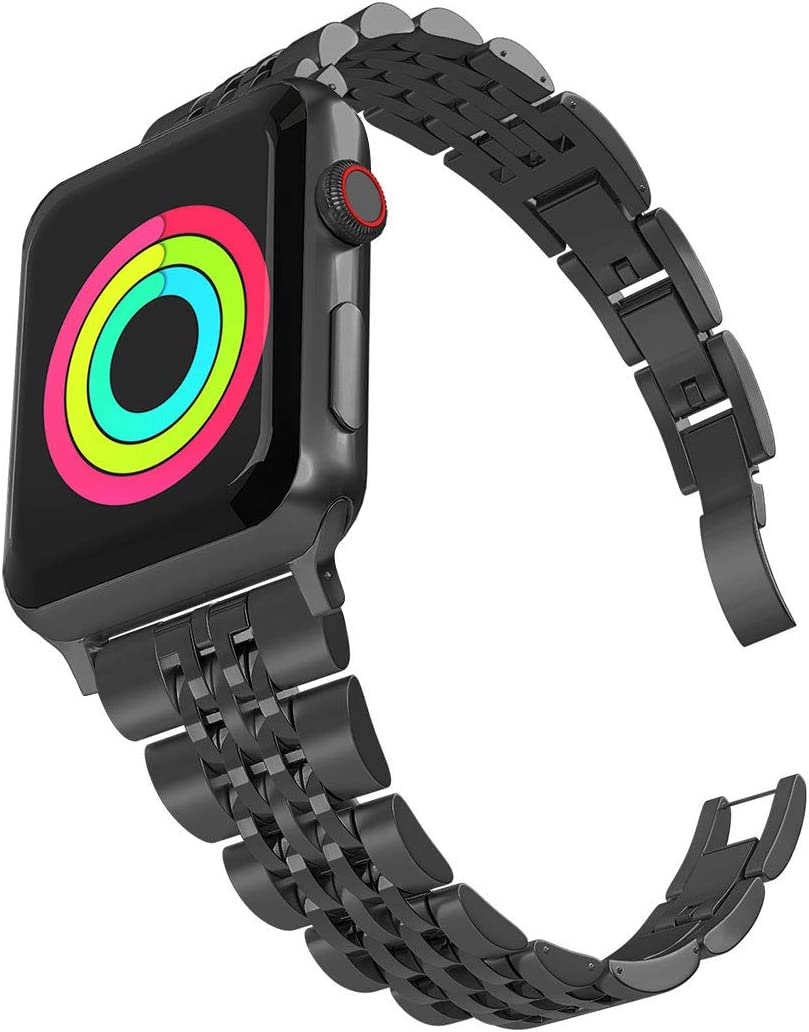 Aizilasa Band Compatible with Apple Watch 40mm Series 5/4, iWatch Bands 38mm Series 3 2 1 for Women Men Stainless Steel Bracelet Adjustable Metal Strap Wristbands (Black-38mm/40mm)