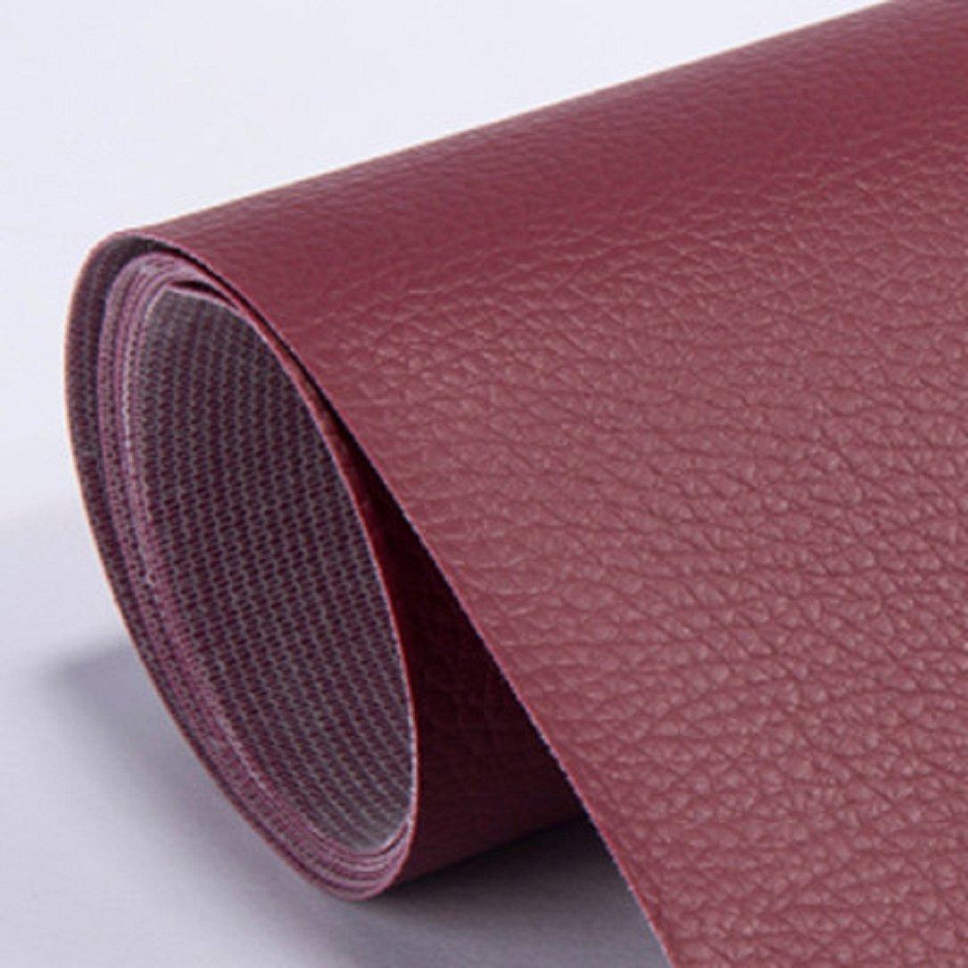 YABINA 137 x 100 cm Self Stick No Ironing Sofa Repairing Leather PU Fabric Patches Scrapbook Badges (Wine Red) by YABINA
