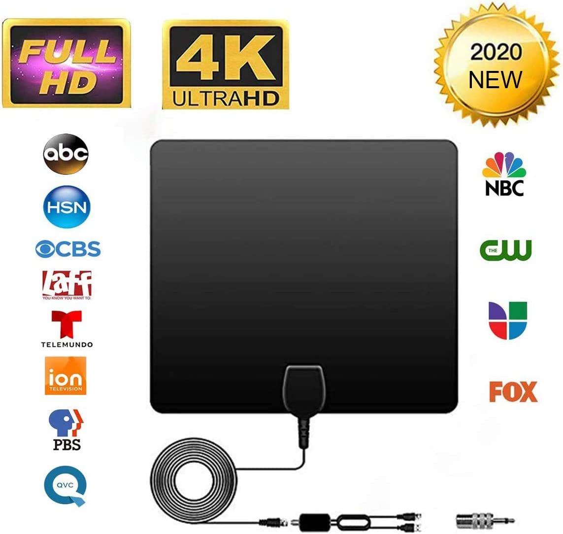 TV Antenna - HDTV Antenna Indoor Support 4K 1080P,VHF UHF Freeview Channel Antenna with Adjustable Amplifier Signal Intensifier Digital Antenna for 60-100 Miles Range-Free Channel Viewing