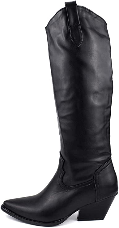 Womens Chunky High Heel Lace Up Leather Shoes Knee High Knight Boots Plus Size