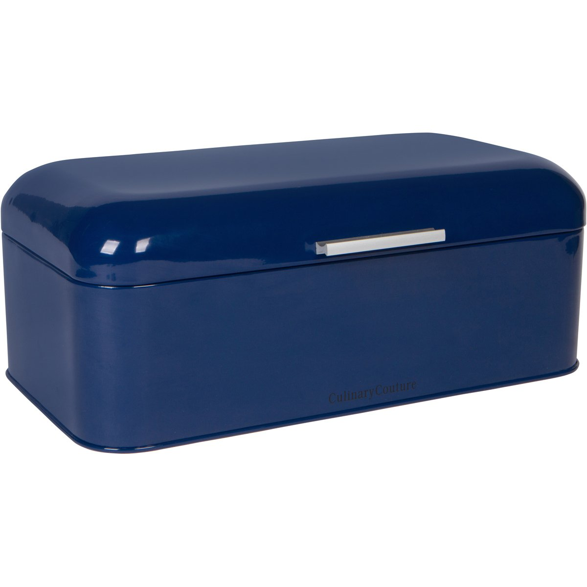 "Large Blue Bread Box - Powder Coated Stainless Steel - Extra Large Bin for Loaves, Bagels & More: 16.5"" x 8.9"" x 6.5"" 