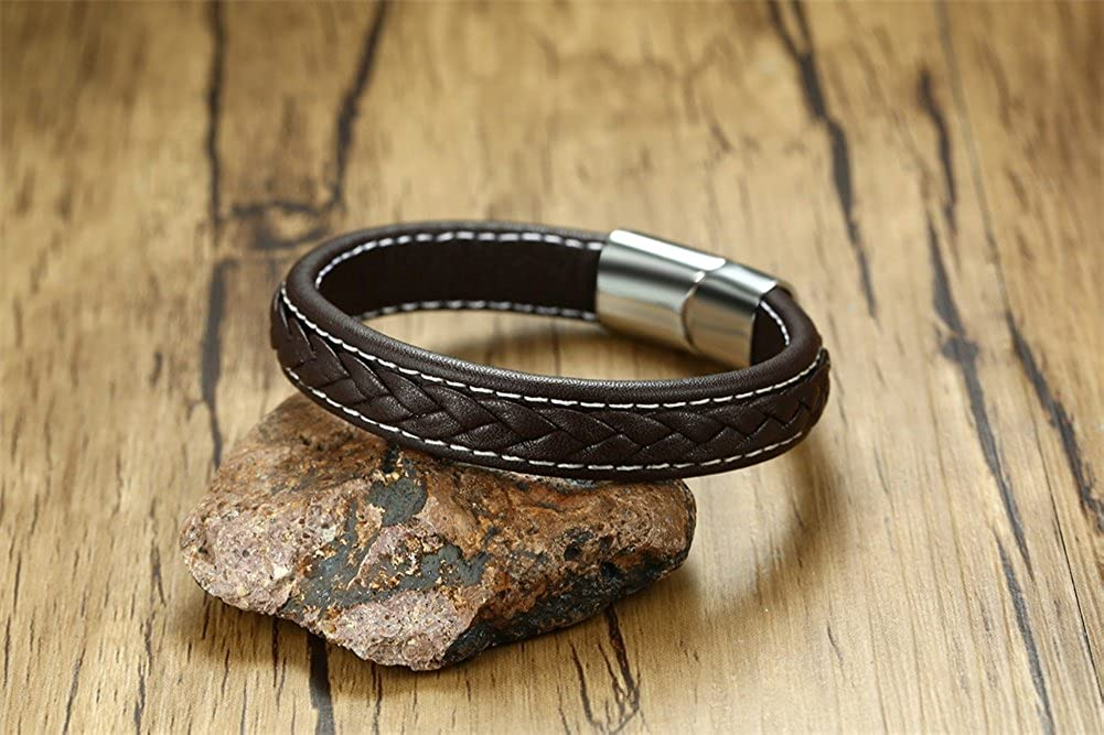 VNOX Mens Womens Personalize Bracelet Genuine Leather with Stainless Steel Clasp Cuff Bangle Bracelet,12MM