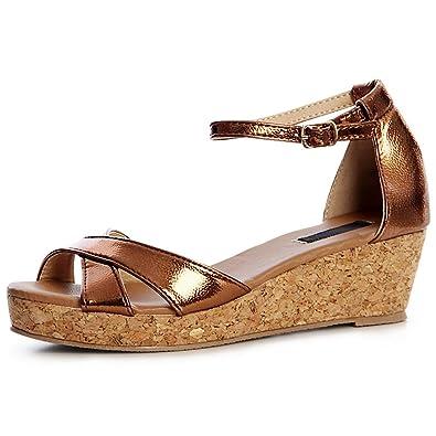 topschuhe24 1396 Damen Riemchen Keil Sandaletten Sandalen Metallic Keilabsatz