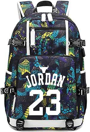 Mochila Star del jugador de baloncesto, mochila para niños, mochila escolar, bolsa de hombro, mochila de viaje para estudiantes, mochila para fanáticos para hombres y mujeres, con carga USB