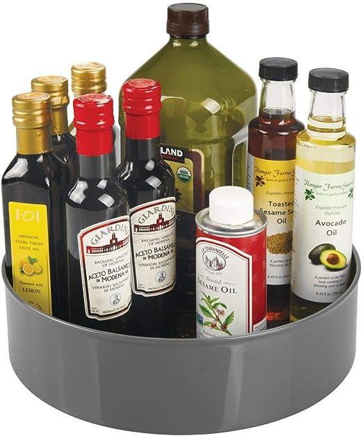 mDesign Plato giratorio para estantes de cocina Especiero giratorio de pl/ástico gris antracita 29,2 cm de di/ámetro Pr/áctico soporte para especias para los armarios de la cocina
