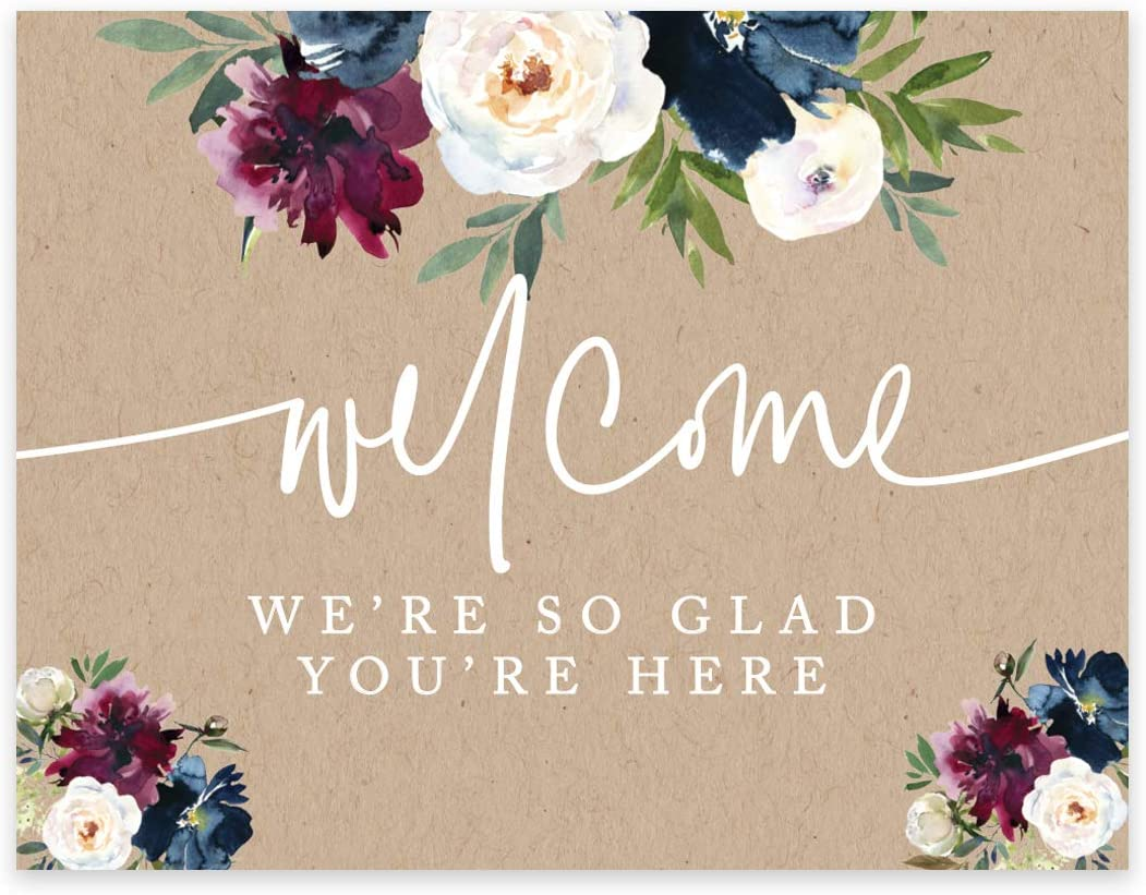 Andaz Press Unframed Kraft Brown with Burgundy Midnight Blue Florals Fall Party Sign Wedding Collection, 8.5 x 11- inch, Welcome We're So Glad You're Here, Floral Bouquet Graphic Design, 1- Pack
