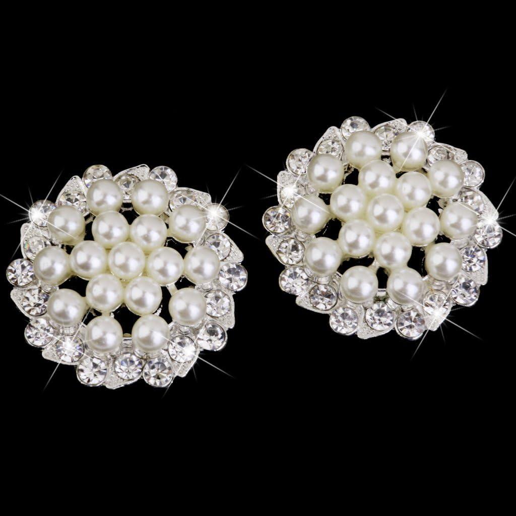 10pcs Rhinestone Pearl Flower Embellishments Button 30mm