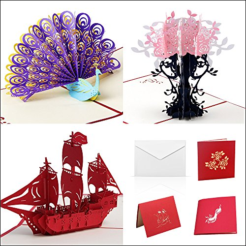 3D Happy Birthday Cards Assortment - Handmade Pop Up Peacock, Boat, Flowers for Sister, Mom, Wife, Kids, Boy, Girl, Friend (3 Cards & Envelopes)