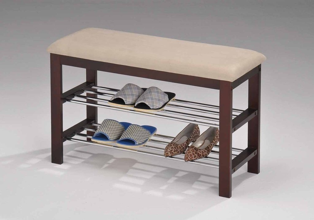 Legacy Decor Walnut and Beige Wood Shoe Bench with Two Metal Racks and Vinyl Seat Cushion
