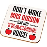 Personalised Teacher Voice Drinks Coaster, End of Term Gift Ideas, Teaching Christmas Thank You Gifts