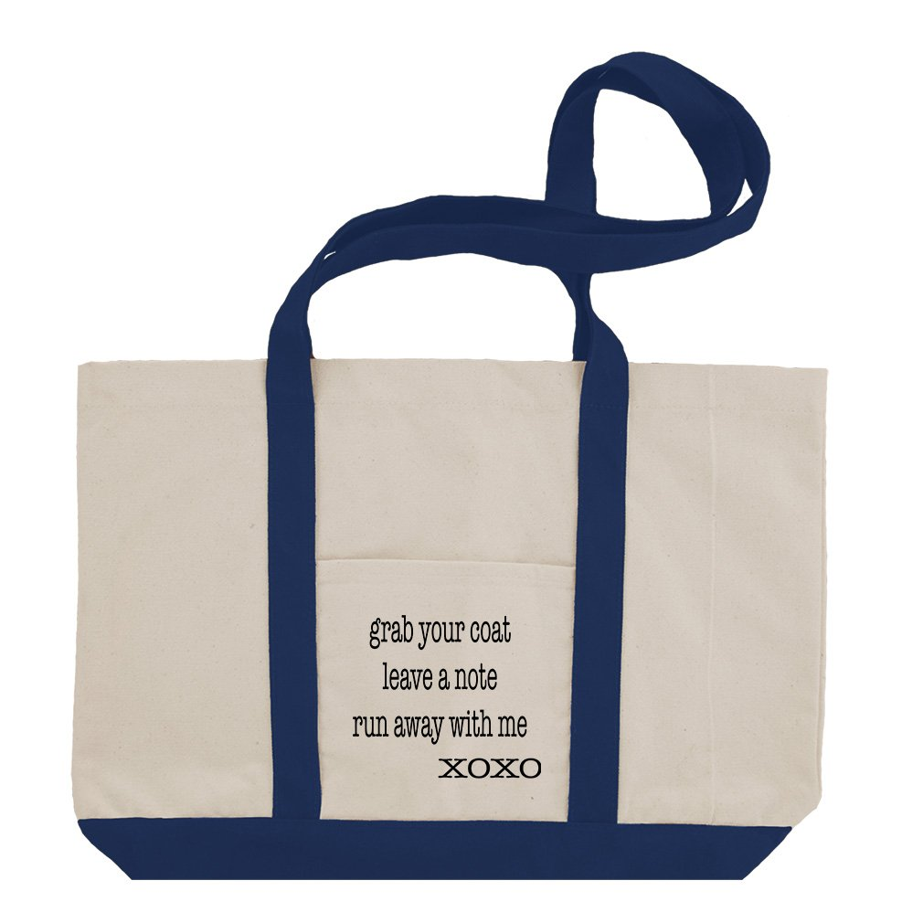 Grab Your Coat A Note Run Away With Me Cotton Canvas Boat Tote Bag Tote - Royal Blue