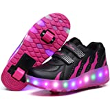 Tbbuy Unisex Ni?os LED ruedas dobles Roller zapatos Skate entrenador Boy Girl Flashing Roller patines zapatos Rollerblades ajustable