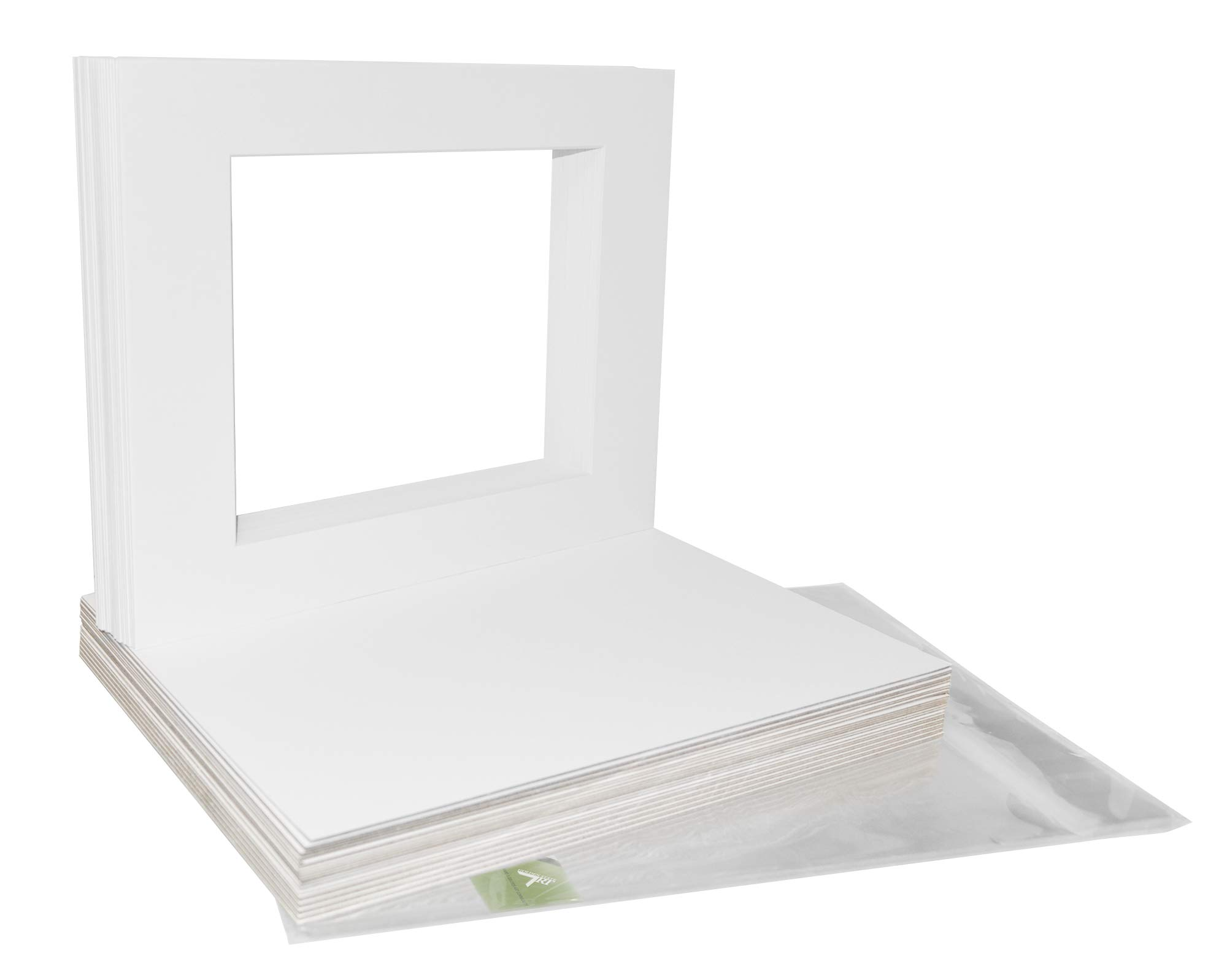 Pack of 25 11x14 WHITE Picture Mats Mattes with White Core Bevel Cut for 8x10 Photo + Backing + Bags by Golden State Art