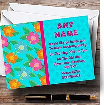 10 X Floral Tiki Hawaiian Tropical Luau Customized Birthday Party Invites