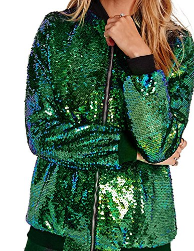 Richlulu Womens Sparkly Polychrome Sequin Threaded Sleeve Outwear Bomber Jacket(Medium, Green)
