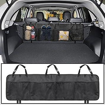 JTDEAL Organizador del maletero del coche (100cm x 30cm), 4 compartimentos grande Conveniente para todos los coches, Organizador Multifuncional para ...