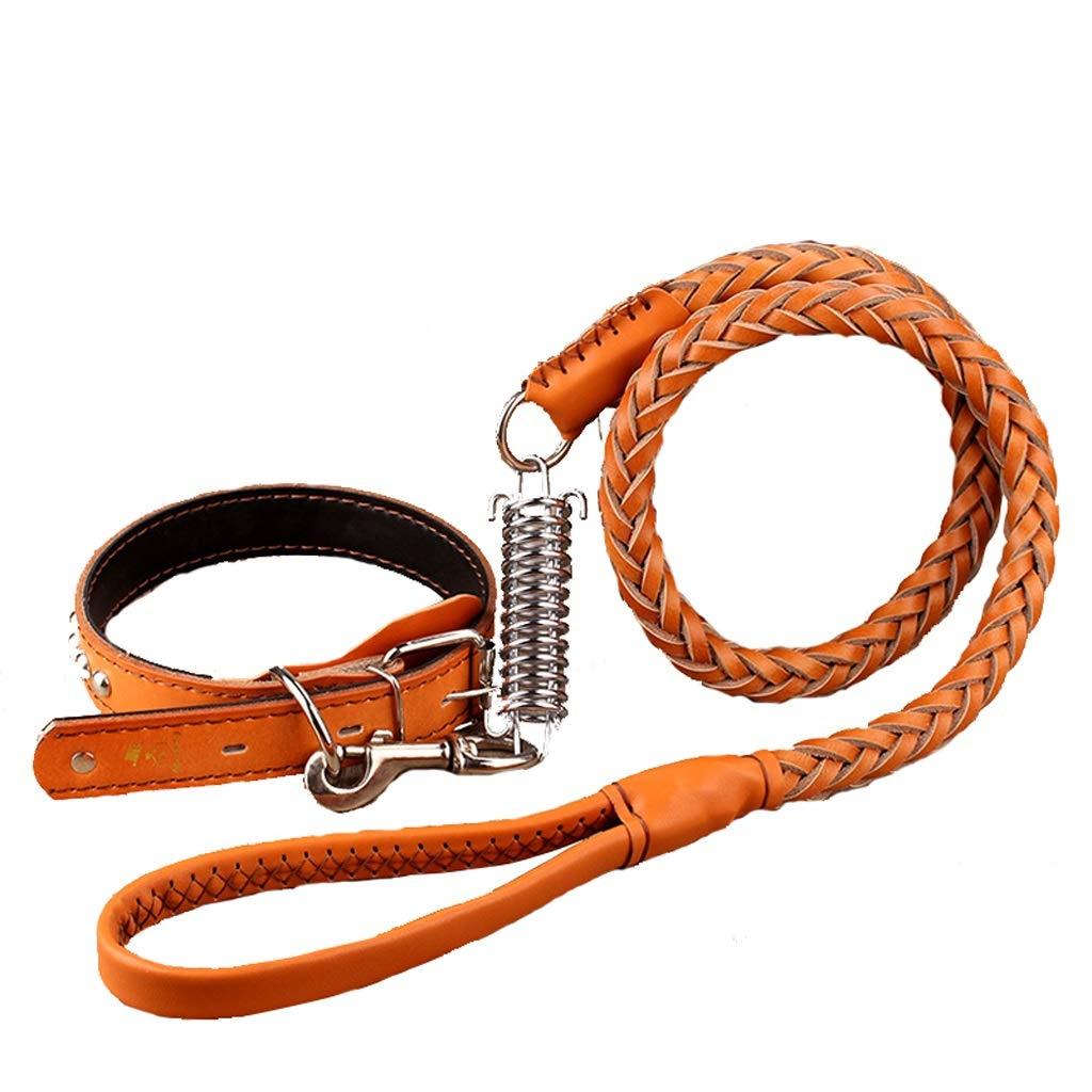 Dog Leash Leather Collar Dog Leash Rope Dog Chain for Medium Large Dogs (color   orange)