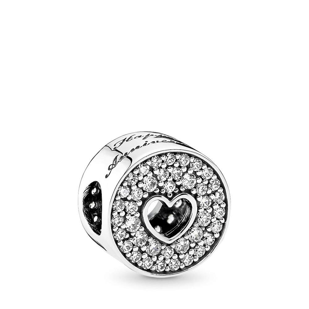 PANDORA Anniversary Celebration Charm, Sterling Silver, Clear Cubic Zirconia, One Size by PANDORA