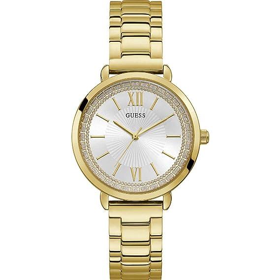 d70557f4e3c2 Guess Ladies Posh Reloj para Mujer Analógico de Cuarzo con Brazalete de Acero  Inoxidable bañado en Oro W1231L2  Amazon.es  Relojes
