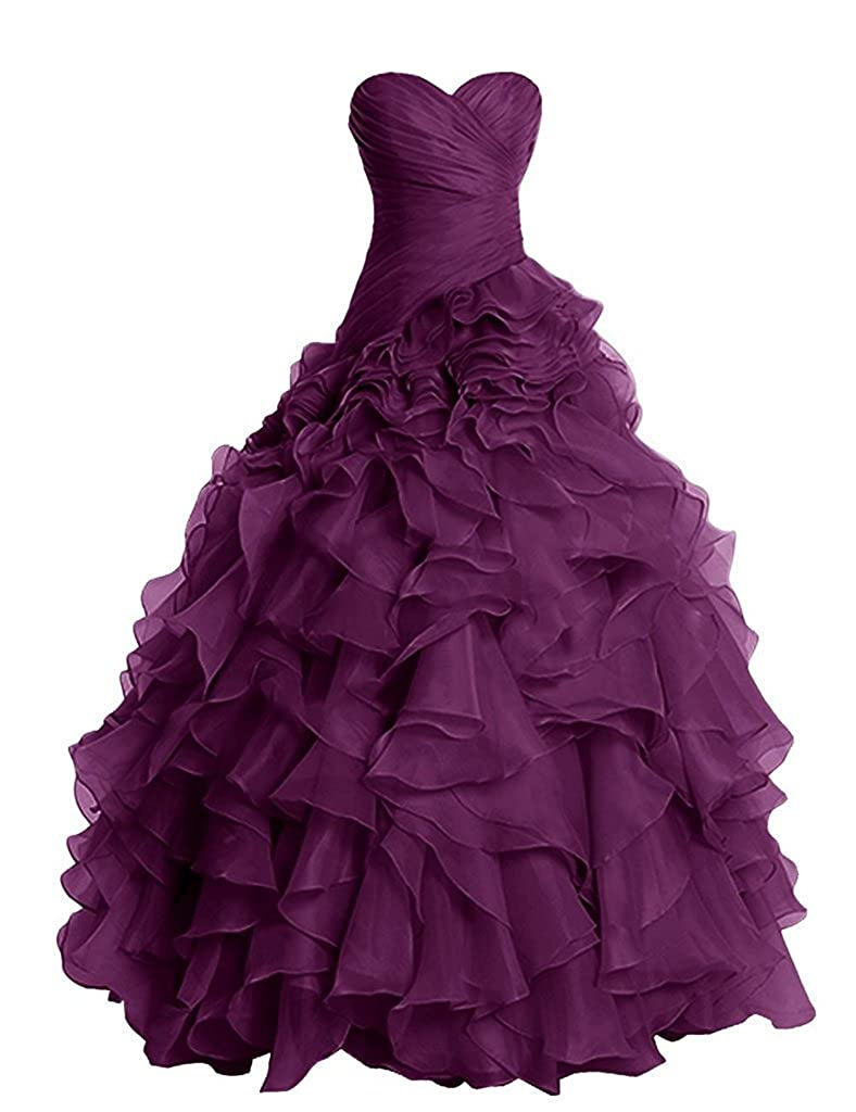 Grape APXPF Women's Long Ruffly Organza Formal Prom Dress Wedding Party Ball Gown