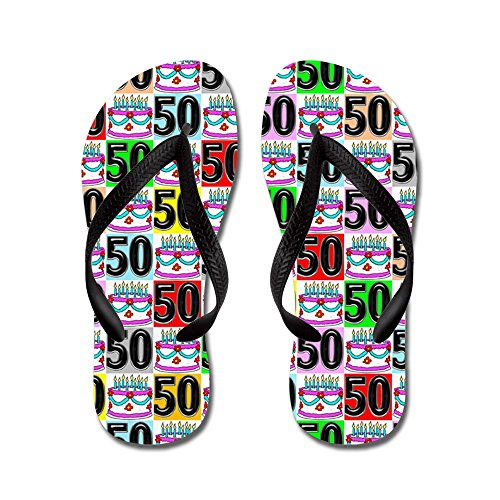 Cafepress Amazing 50th - Chanclas, Sandalias Thong Divertidas, Sandalias De Playa Negras