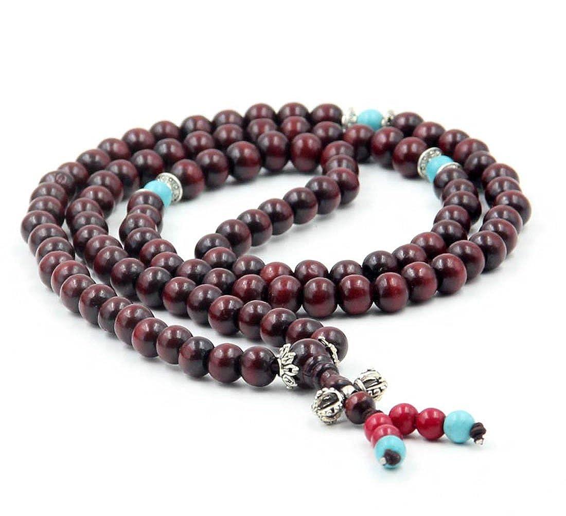 8mm 108 Wood Beads Tibetan Buddhist Prayer Mala Necklace ovalbuy ZZ429