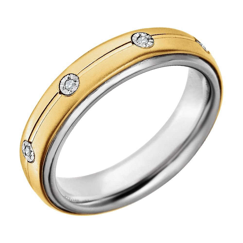 Sterling Silver /& 10K Yellow Gold 5mm .04 CTW Diamond Band Size 12