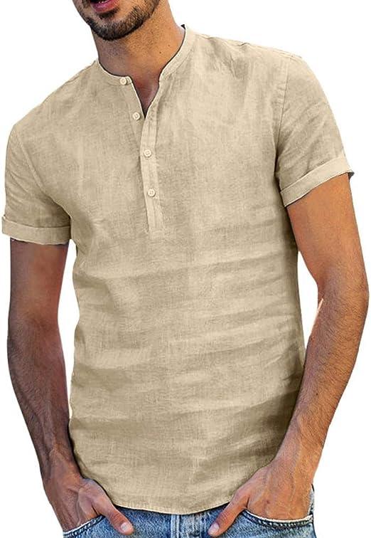Camisa Lino Hombre Casua SHOBDW 2020 Nuevo Camisetas Hombre Manga Corta Baratas Color Sólido Tops Cuello Pico Slim Fit Blusas Hombre Verano: Amazon.es: Ropa y accesorios