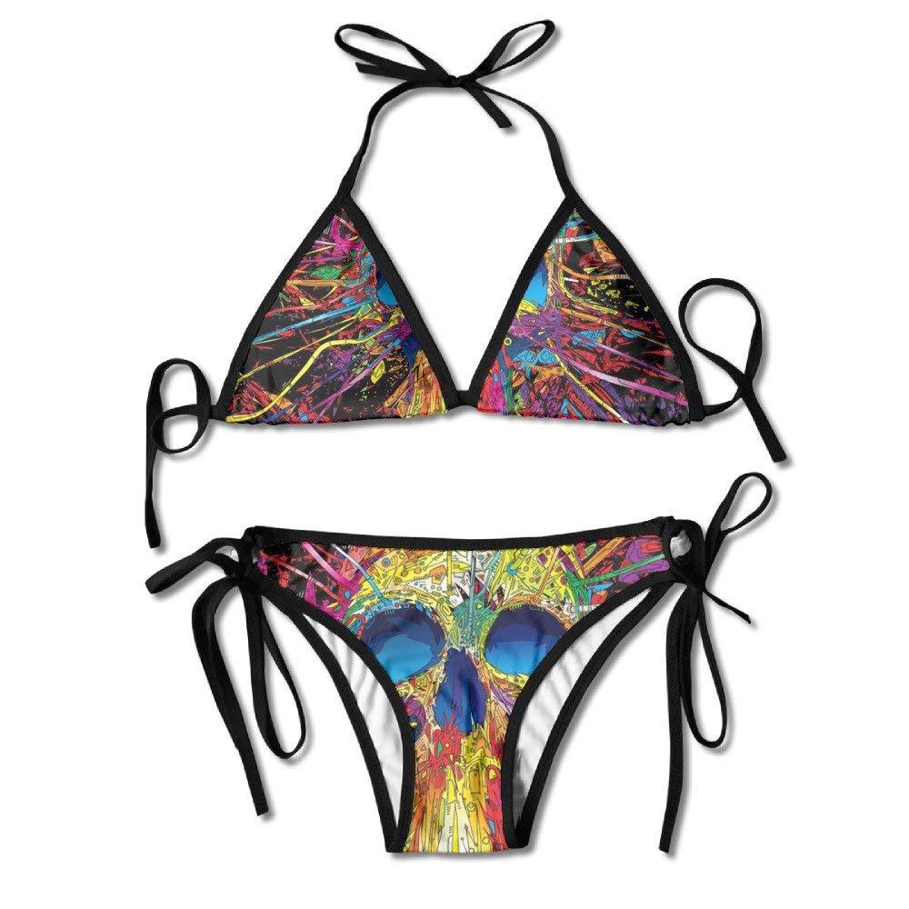 Miedhki Womens Lace Up Padded Beach Wear Bikini Plant Printing Bottom Swimsuit