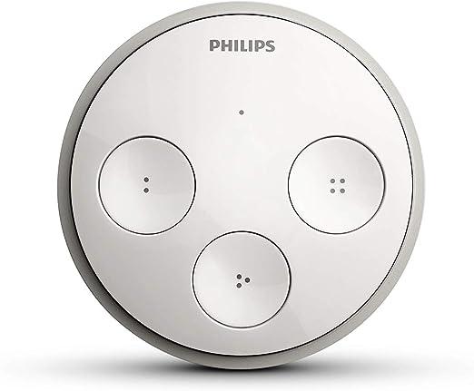 Philips Hue Incluye 4 Botones Configurables y Placa Adhesiva para Colocar en Pared Interruptor Inal/ámbrico con Seleccionador de Escenas