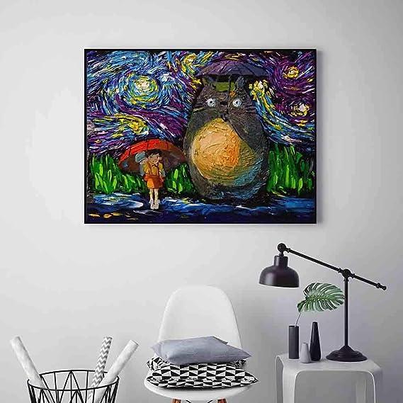 Wjy Miyazaki Hayao Animation Mon Voisin Totoroes Affiches Nuit Etoilee Inspiree Toile Peinture Impression A L Huile Image Mur Art Decor 50cm X75cm No Frame Amazon Fr Cuisine Maison