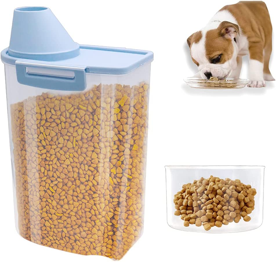 Tngghlu Pet Food Container with Measuring Cup,Dogs Cat Food Storage Container,Airtight Plastic Dispenser with Pourable Spout for Cats Dogs Birds